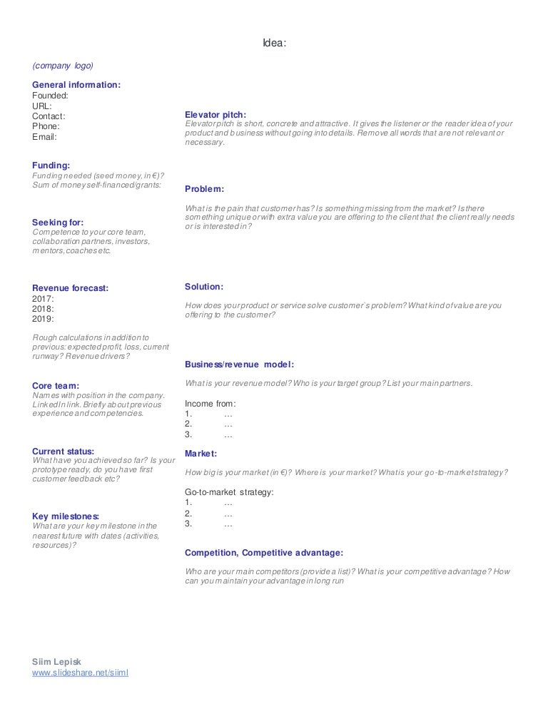 Investor Onepager Template