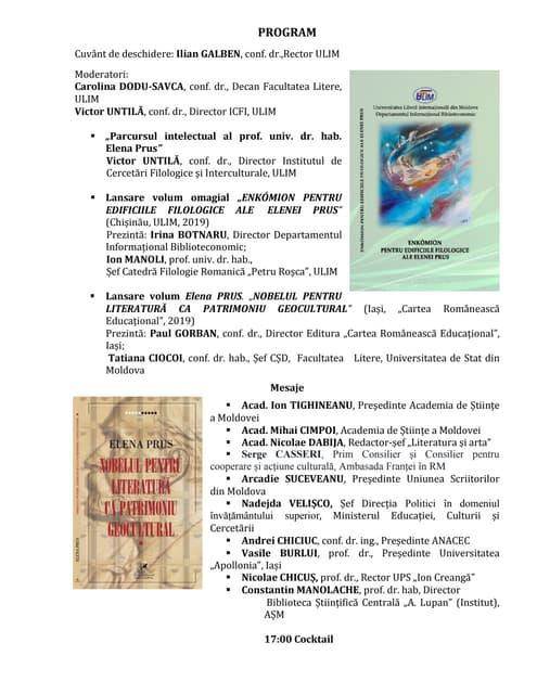 Program Enkomion pentru edificiile filologice ale Elenei Prus