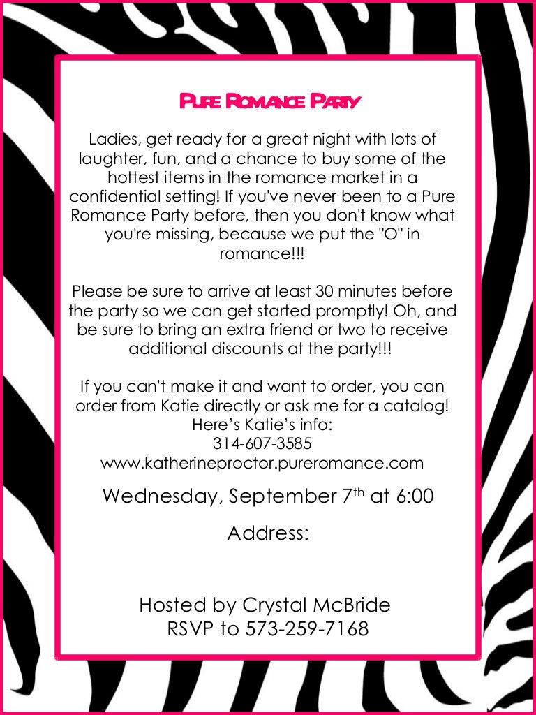 Invite flyer 1 – Pure Romance Party Invite