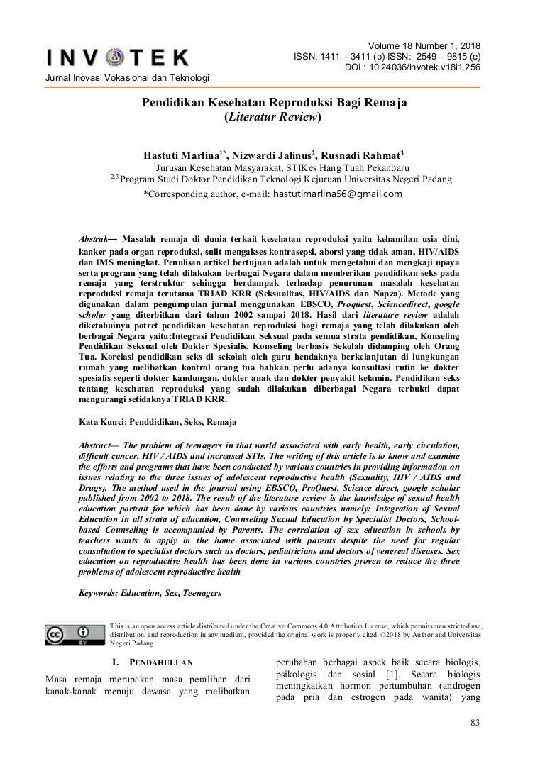 Pendidikan Kesehatan Reproduksi Bagi Remaja Literatur Review
