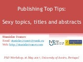 Publishing Top Tips: Sexy topics, titles and abstracts