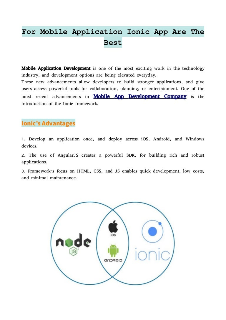 For Mobile Application Ionic App Are The Best