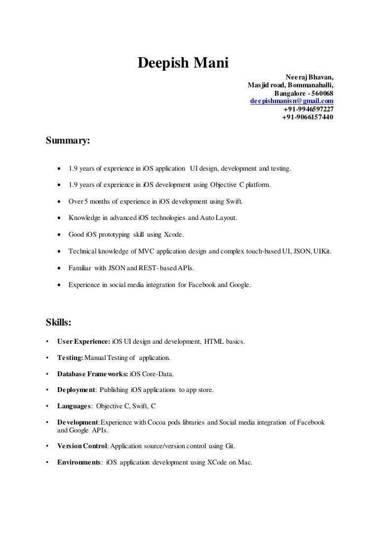 iOS developer deepish resume-docx