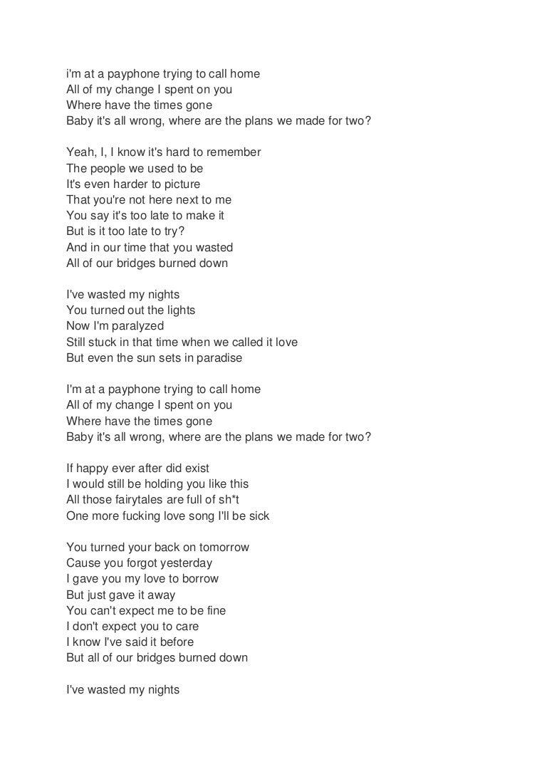 Payphone Lyrics