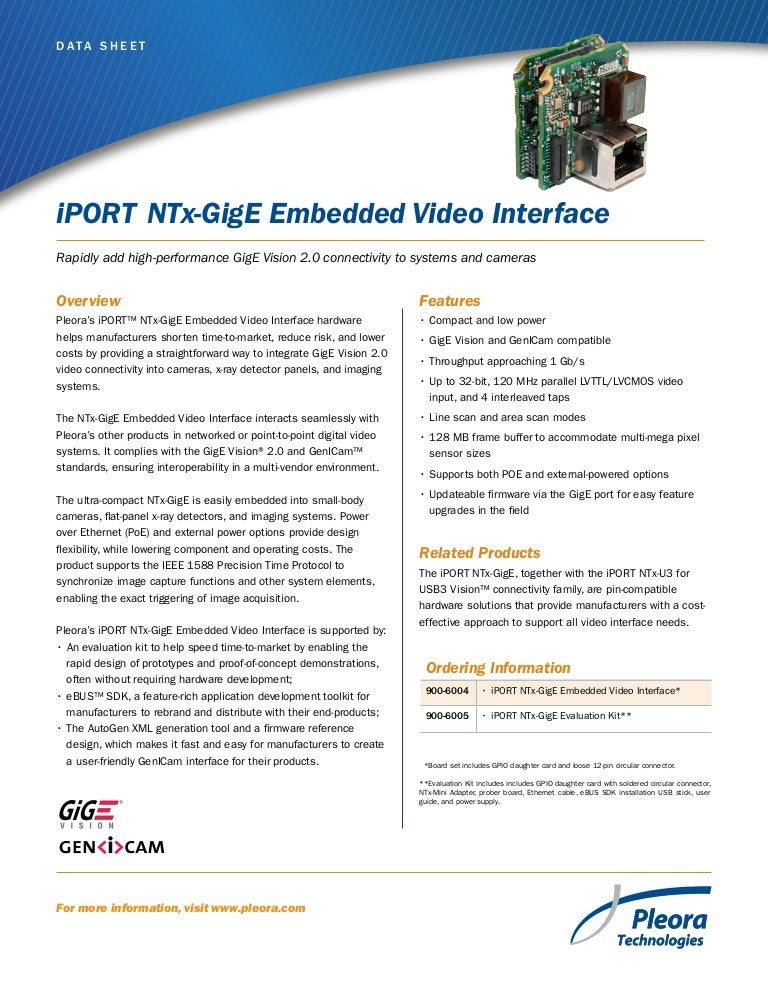 Iport ntx gige-embedded_video_interface_data_sheet