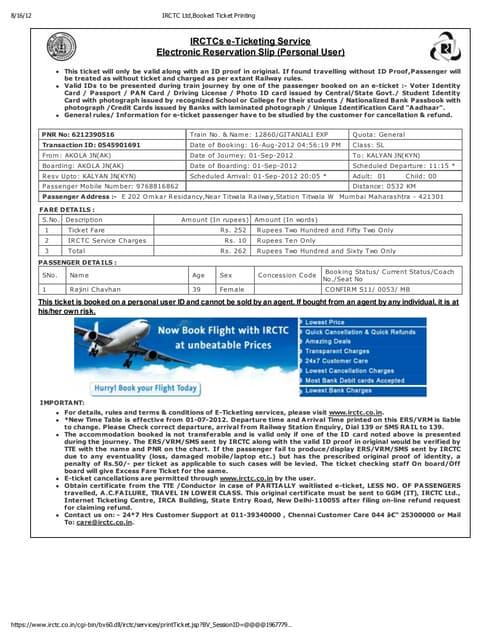 Irctc Ltd Booked Ticket Printing Pdf