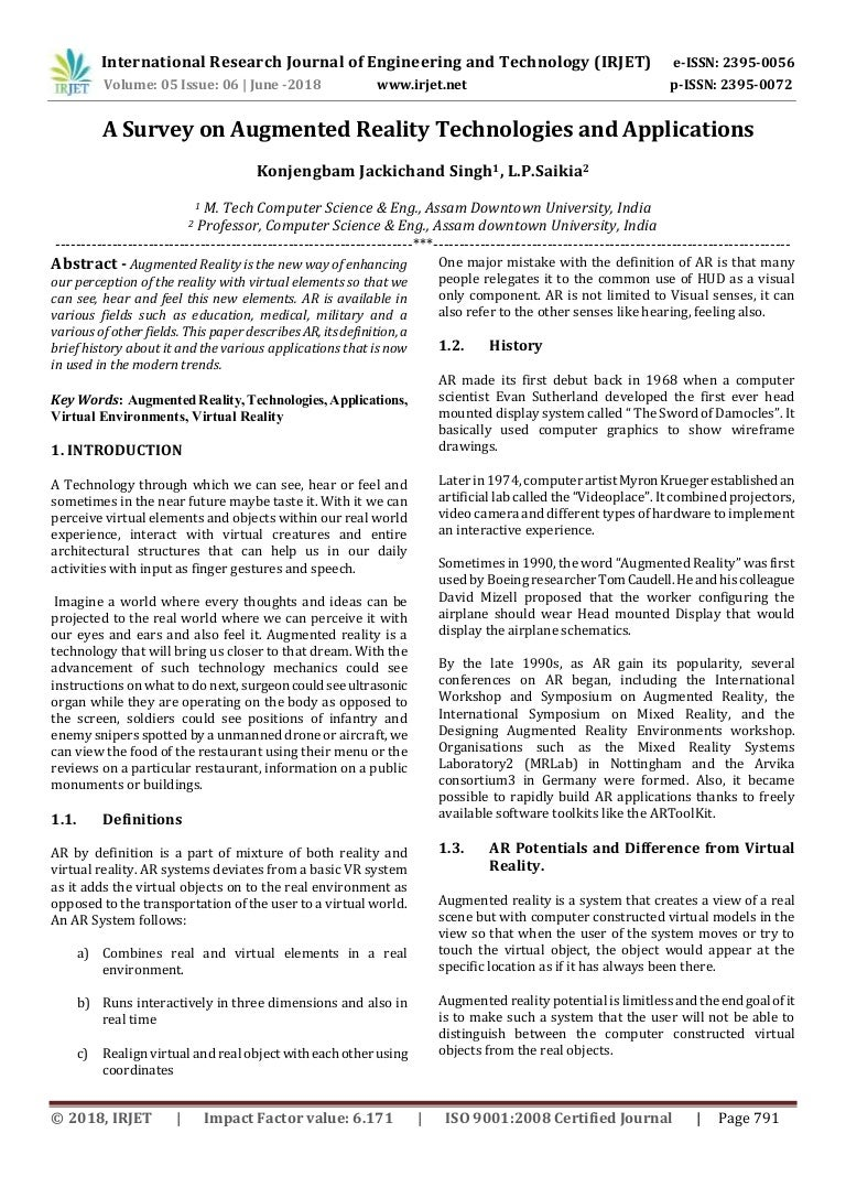 ac00fe19746f IRJET-A Survey on Augmented Reality Technologies and Applications