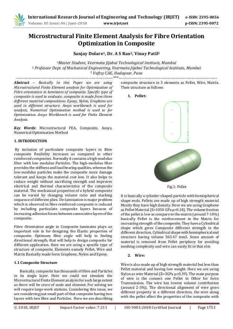 IRJET- Microstructural Finite Element Analysis for Fibre