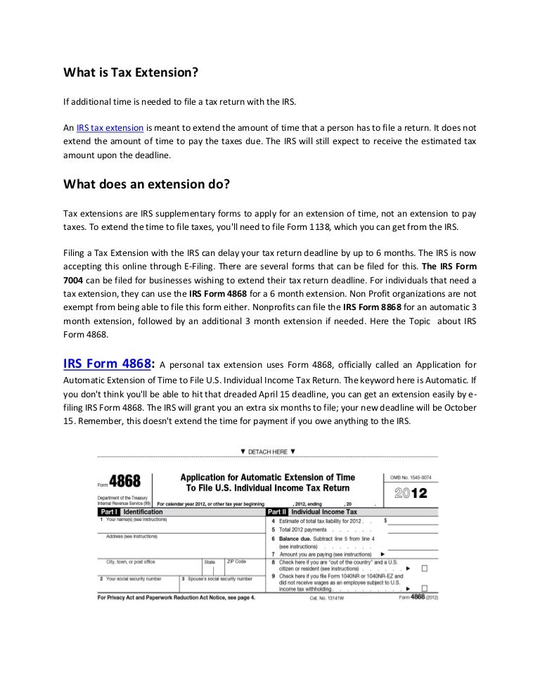 Irs Tax Extension Form