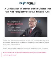 A Compilation of Warren Buffett Quotes that will Add Perspective to your #InvestorLife