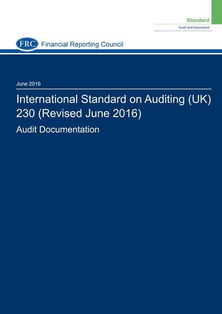 ISA 230 (Revised) Audit Documentation