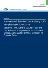 ISA 250 (Revised) Section B – The Auditor's Statutory Right and Duty to Report to Regulators of Public Interest Entities and Regulators of Other Entities in the Financial Sector