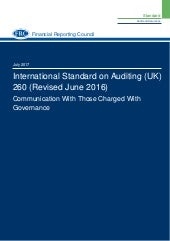 ISA 260 (Revised) Communication With Those Charged With Governance