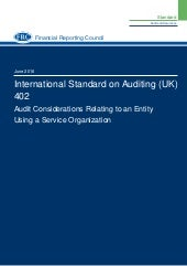 ISA 402 Audit Considerations Relating to an Entity Using a Service Organisation