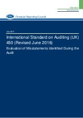 Isa (uk)-450 revised-june-2016-updated-july-2017 Evaluation of Misstatements Identified During the Audit
