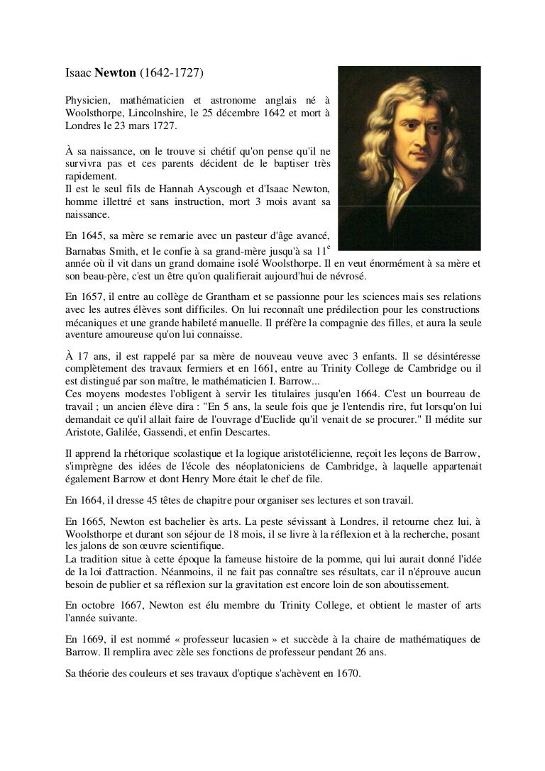 isaac newton biographie
