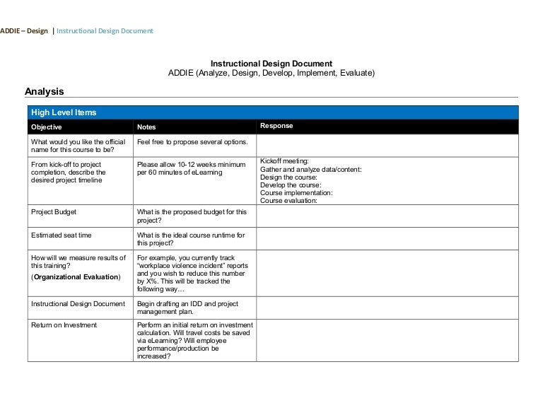 Isd Addie Design Document Template