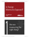 Is Design Metrically Opposed? - Jared Spool (ProductCamp Boston)