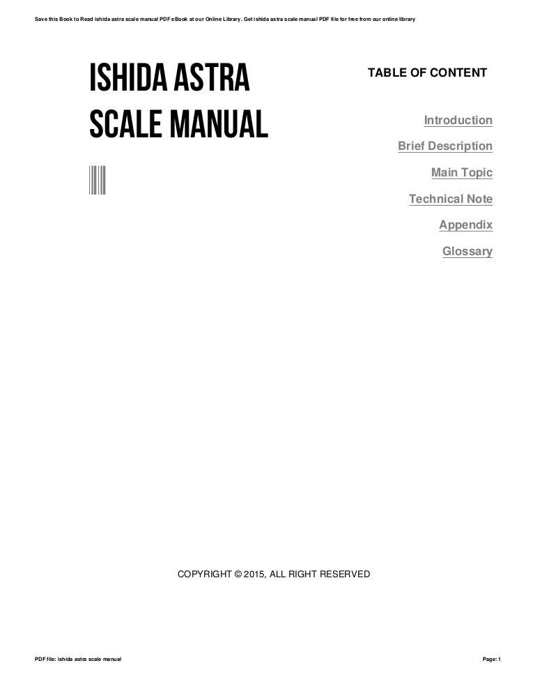 Ishida astra scale manual