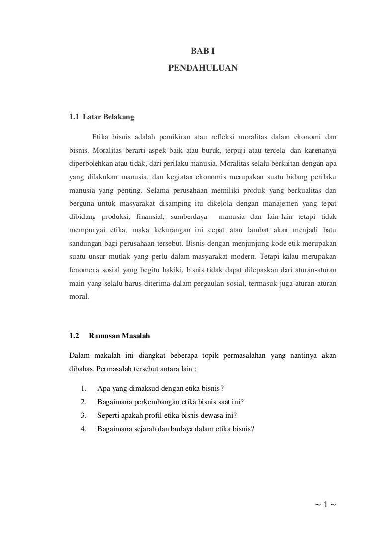 Makalah Etika Bisnis Sejarah Dan Perkembangan Etika Bisnis