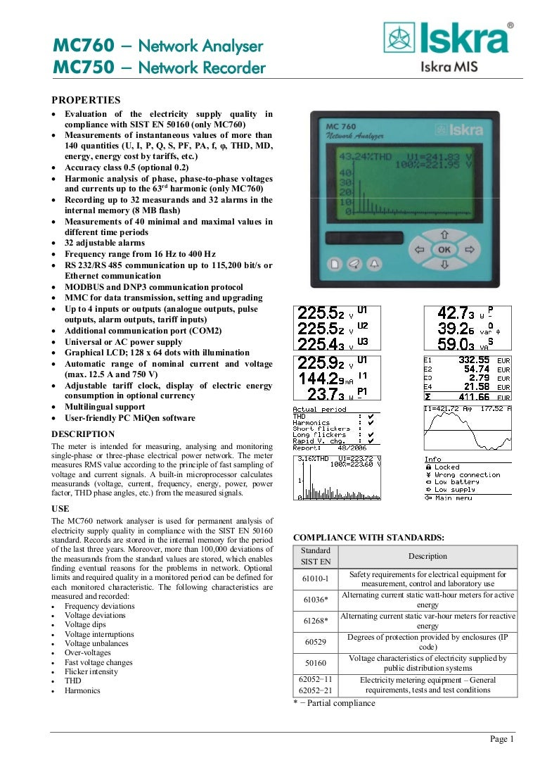 Iskra MC 760 Network Analyzer - Datasheet Manual