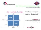 L4A - Lean for (being) Agile - Some thoughts and tips for a progressive path to higher maturity & capability levels