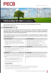 PECB Certified ISO 14001 Foundation - One Page Brochure