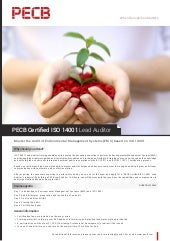 PECB Certified ISO 14001 Lead Auditor - One Page Brochure