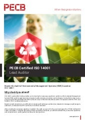 PECB Certified ISO 14001 Lead Auditor - Four Page Brochure