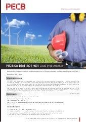 PECB Certified ISO 14001 Lead Implementer - One Page Brochure
