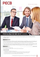 PECB Certified ISO 9001:2015 Transition | One page