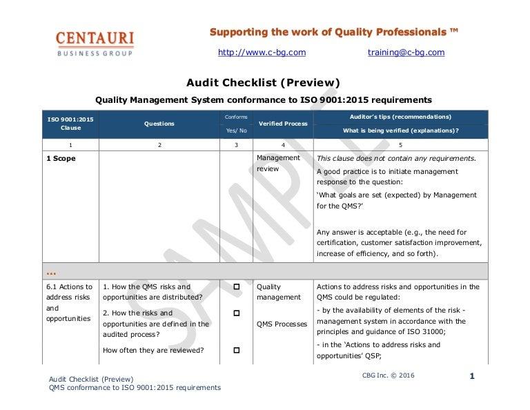 Iso 9001 2015 Audit Checklist Excel Xls from cdn.slidesharecdn.com