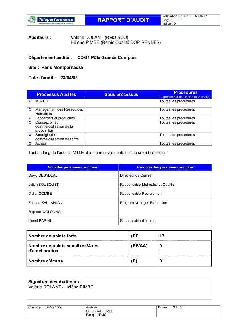 Iso 9001 2000 - exemple d'un rapport d'audit teleperformance