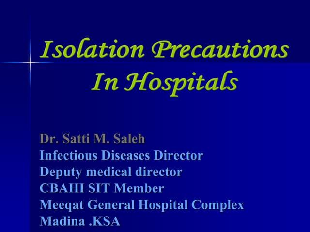 Isolation precautions in hospitals covid19