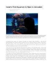 Israel's First Aquarium to Open in Jerusalem