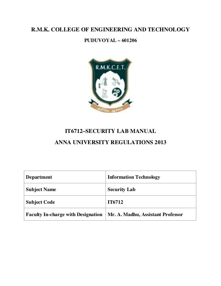 it6712 lab manual rh slideshare net cryptography and network security lab manual regulation 2013 cryptography and network security lab manual anna university