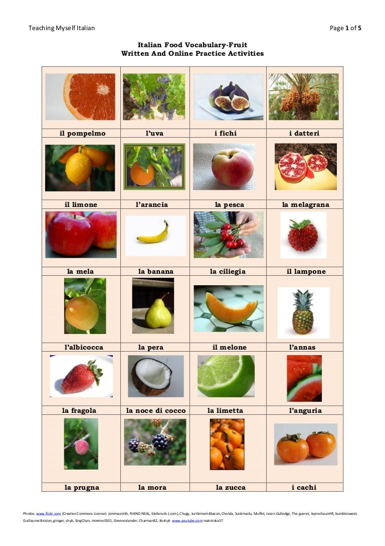 English In Italian: Italian Food Vocabulary Fruit