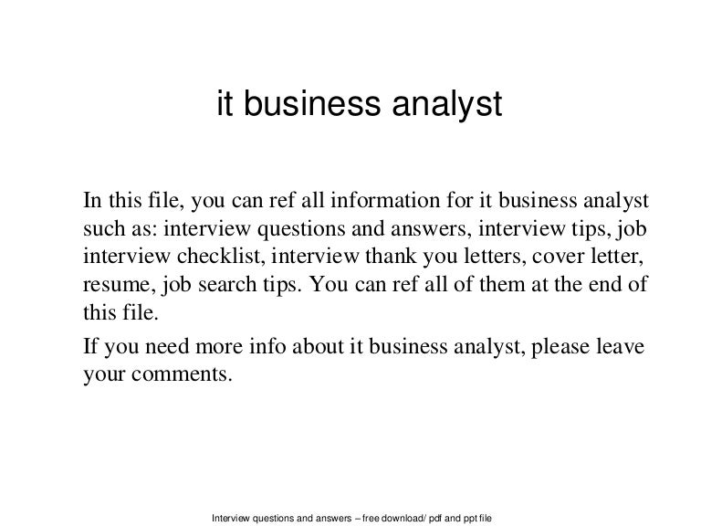 it business analyst - Analyst Interview Tips Questions Answers