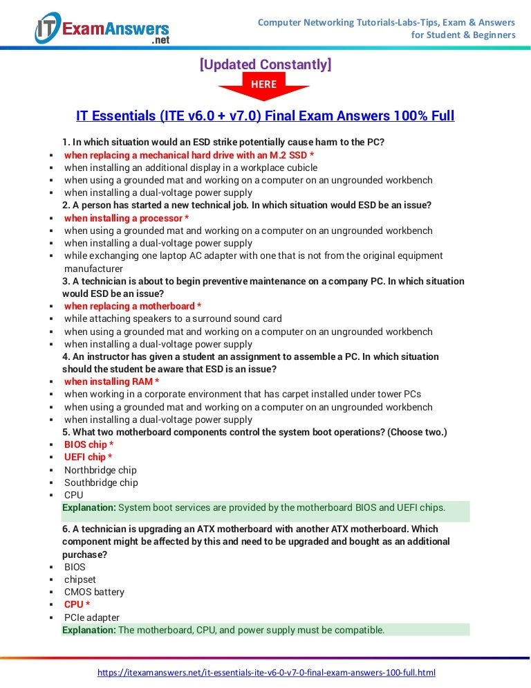 It Essentials Version 7 0 Ite Final Exam Answers