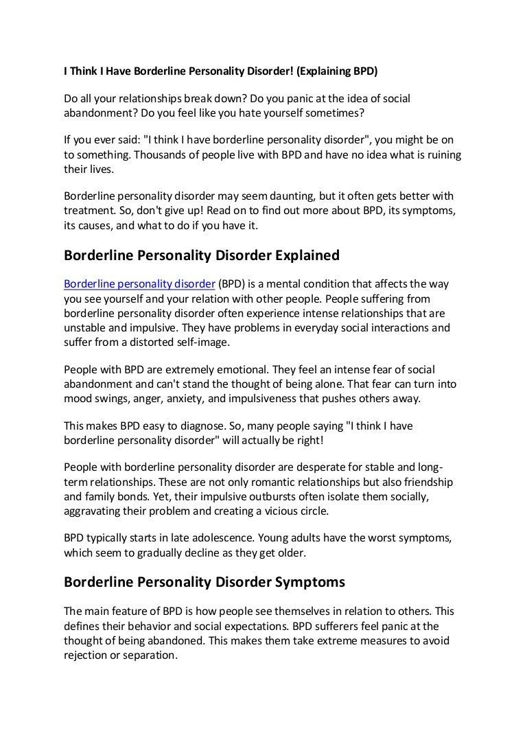 I Think I Have Borderline Personality Disorder Explaining Bpd