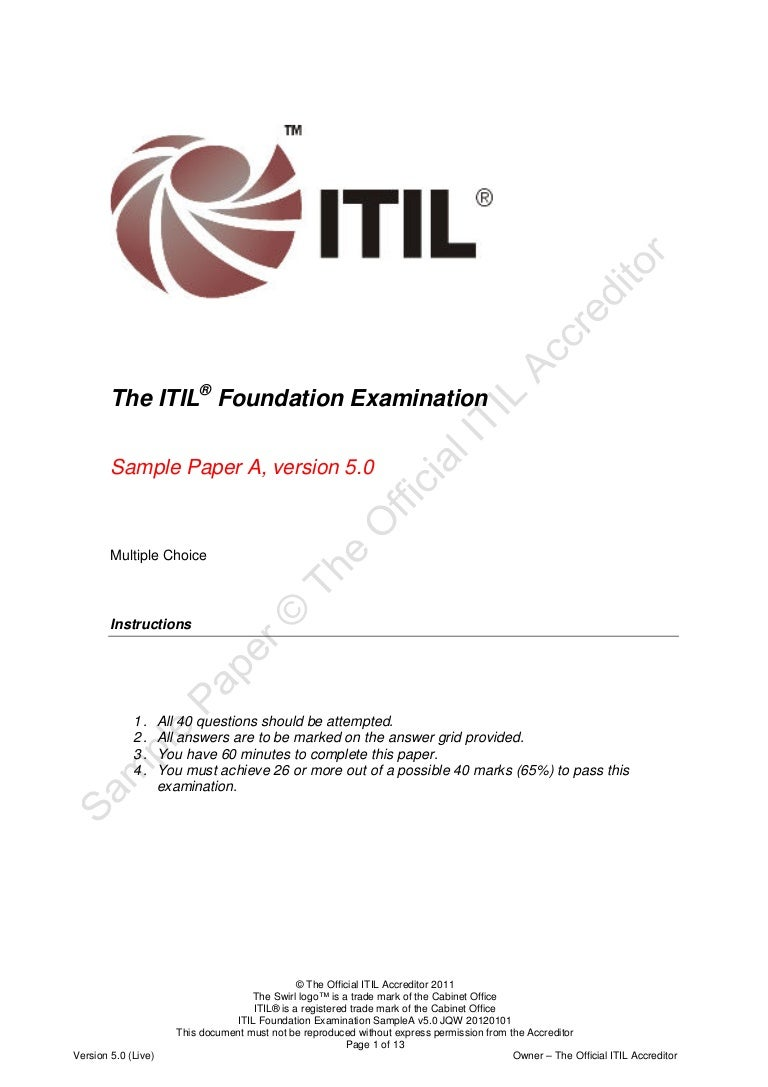 Itil foundation examinationsampleav50jqw20120101 xflitez Images