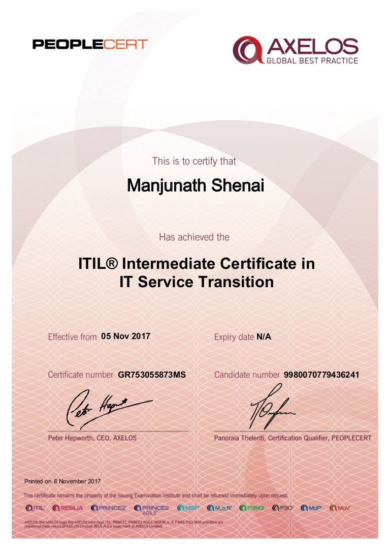 certificate transition service itil