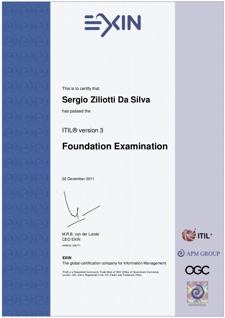 Certificate Itil V3 Foundation