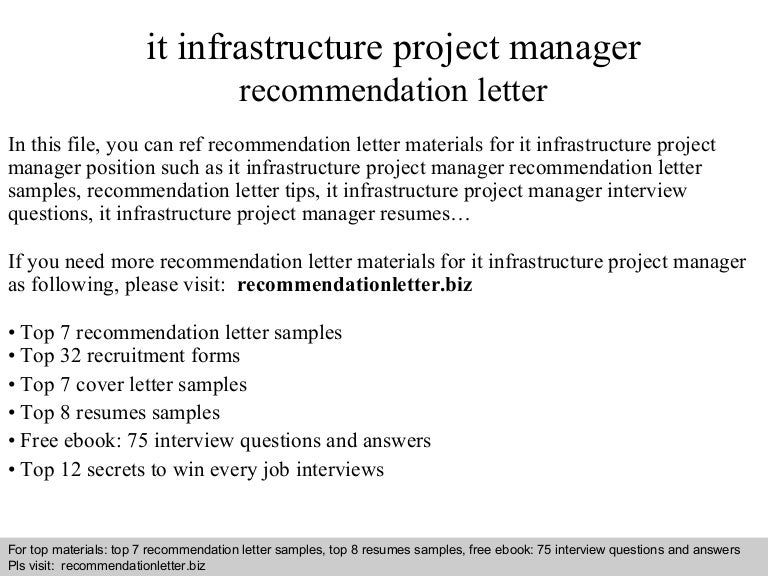 It Infrastructure Project Manager Recommendation Letter