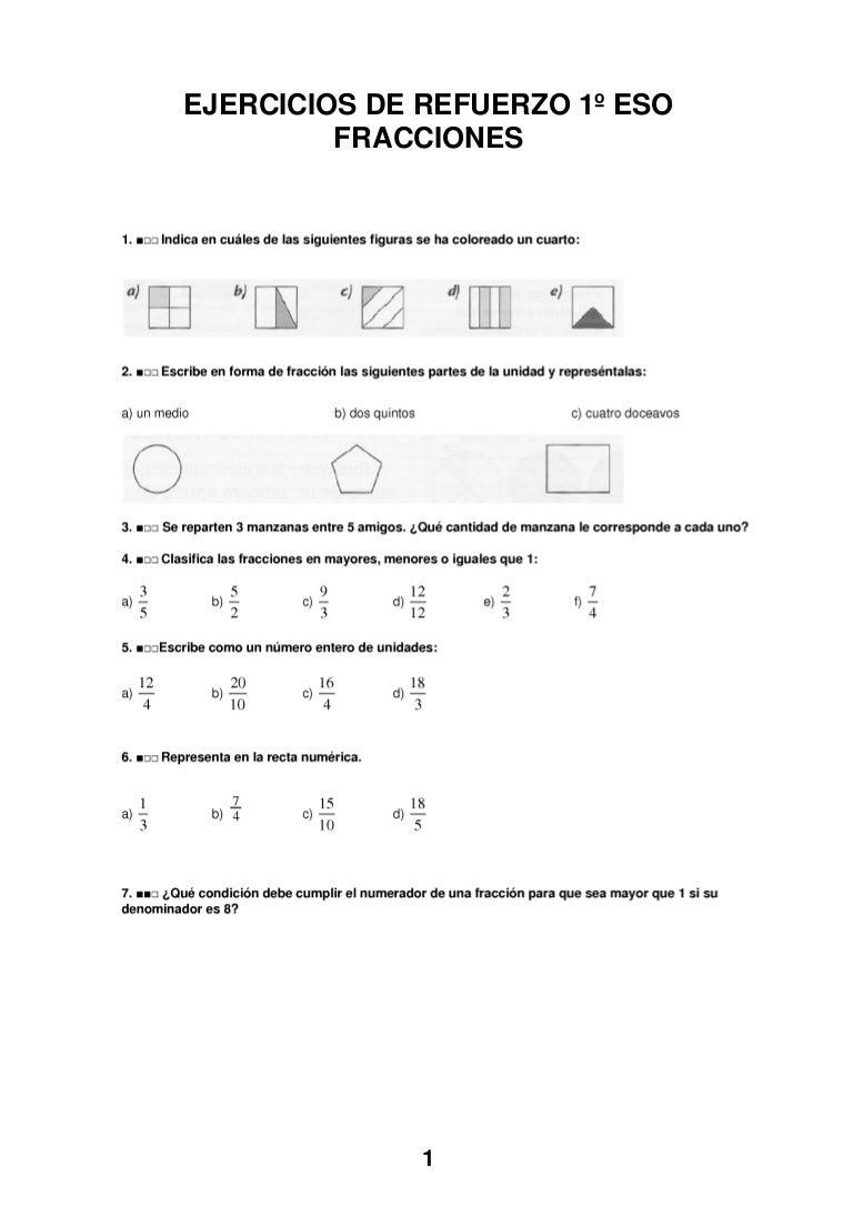ejercicios fracciones equivalentes 1 eso pdf
