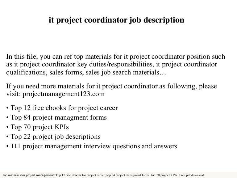 It Project Coordinator