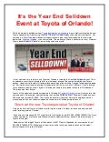 It's the Year End Selldown Event at Toyota of Orlando!