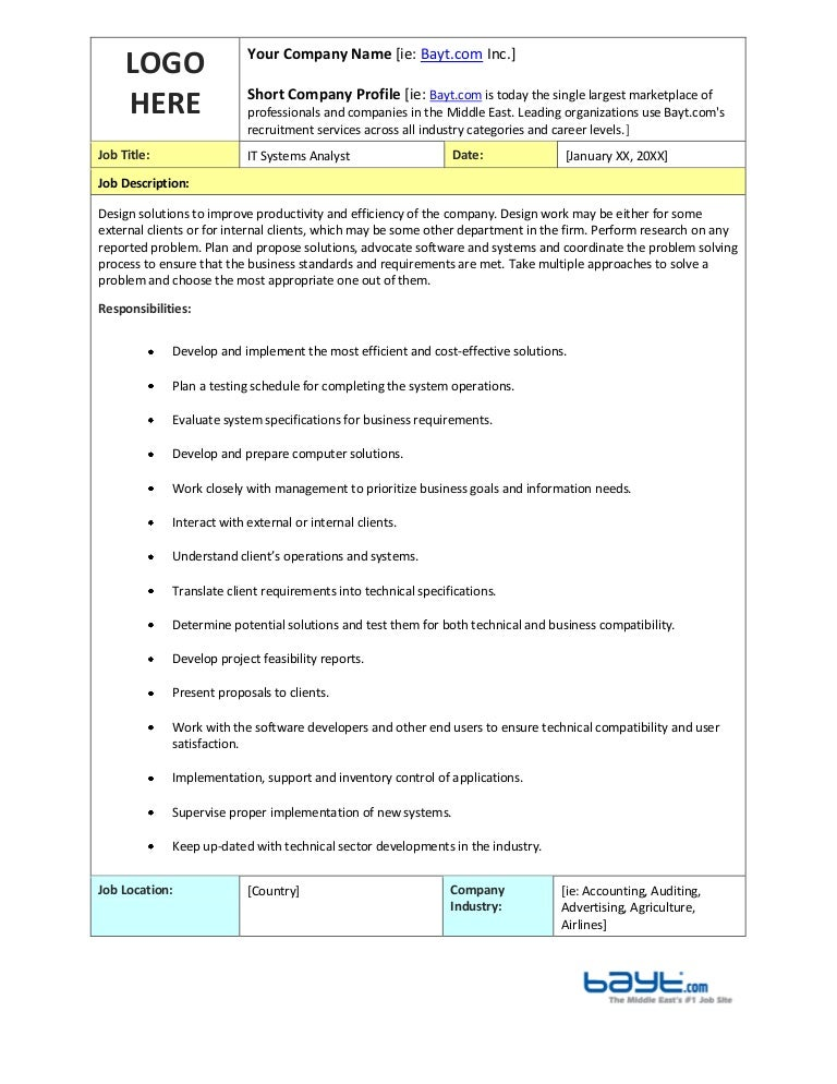 It Systems Analyst Job Description Template By Bayt.Com