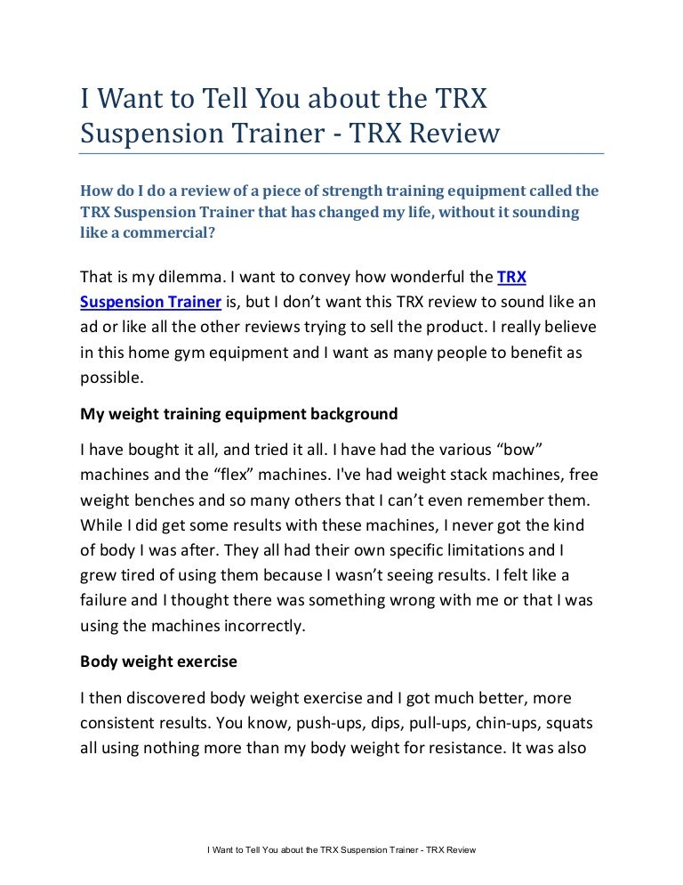 i want to tell you about the trx suspension trainer trx review rh slideshare net TRX Workouts PDF TRX Full Body Workout