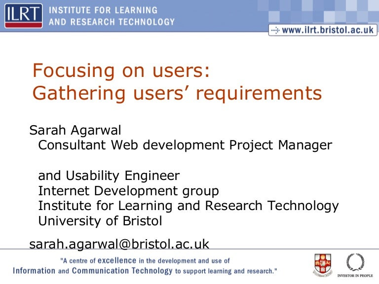 iwmw 2003 focussing on users gathering users requirements usability engineer